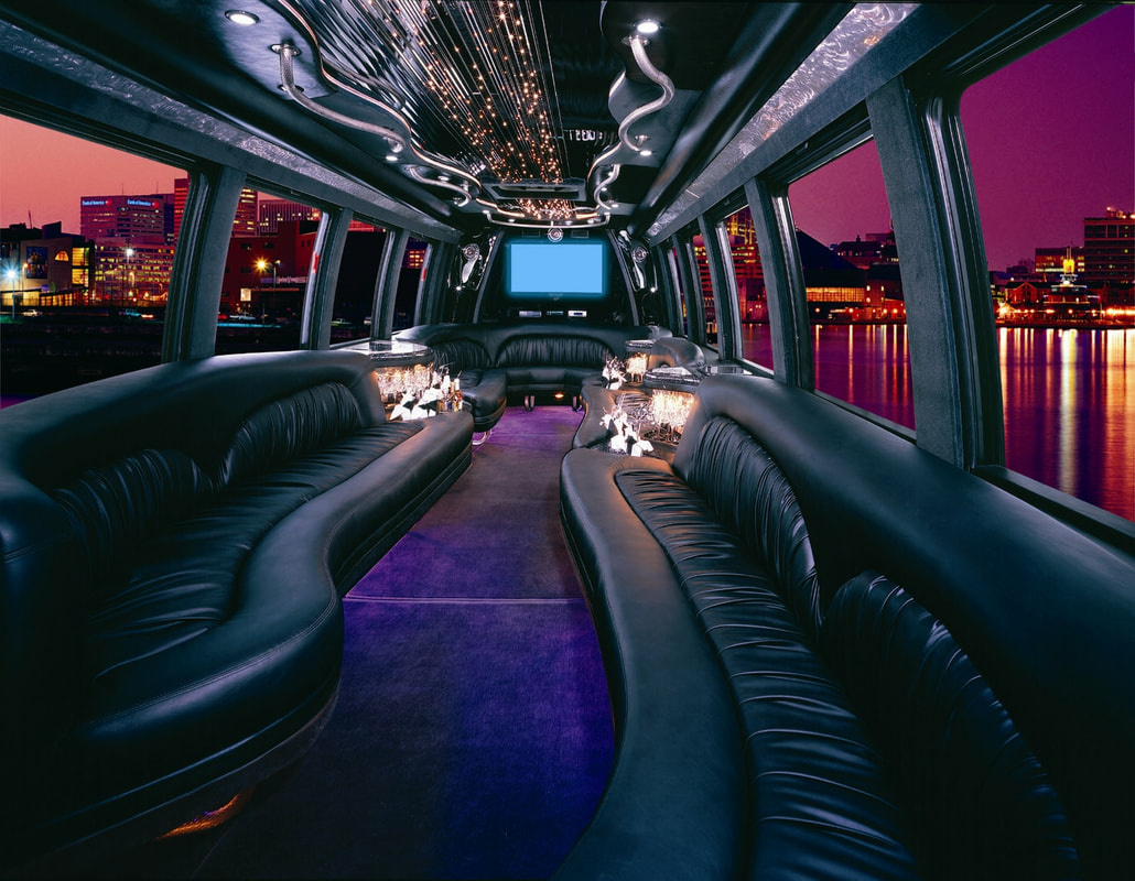 Inside one of our Limo Buses traveling through the city